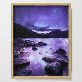 Magical Mountain Lake Purple Serving Tray