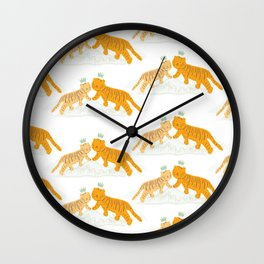 Lucky Orangie Tigers Wall Clock