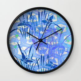 Blue Chinoiserie Butterfly On the Pond Wall Clock