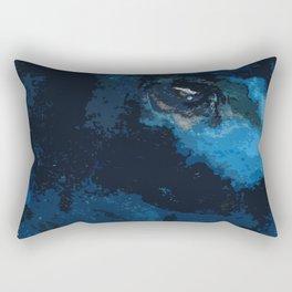 Blue and black bird ink painting Rectangular Pillow