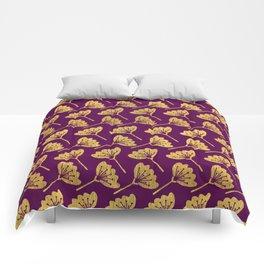 Modern Golden Florals Comforters