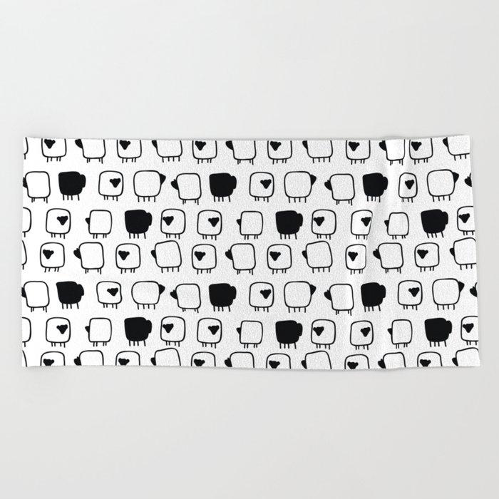 Black and white sheeps Beach Towel