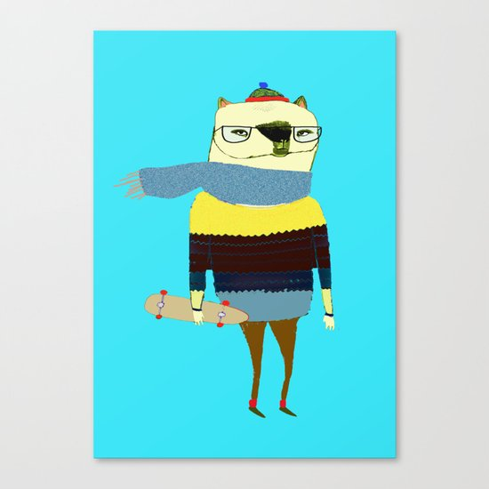 Bear Skateboarder, skateboarding print, skater Canvas Print