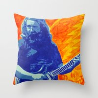 grateful dead Throw Pillows featuring Jerry Garcia - The Grateful Dead by Tipsy Monkey