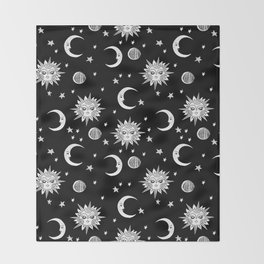 Linocut black and white sun moon and stars outer space zodiac astrology gifts Throw Blanket