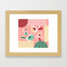Funny birds in pink and blue Framed Art Print