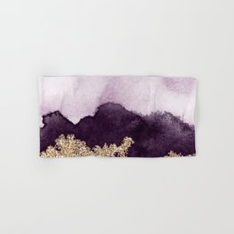 Golden glitter on purple paint Hand & Bath Towel