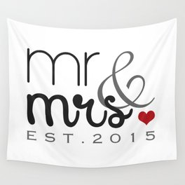 Mr. & Mrs. Typography - EST. 2015 Wall Tapestry