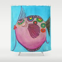 larry Shower Curtains featuring LARRY by Caribbean Critters Co.