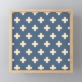 Swiss Cross Blue Framed Mini Art Print