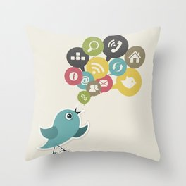 Social bird Throw Pillow