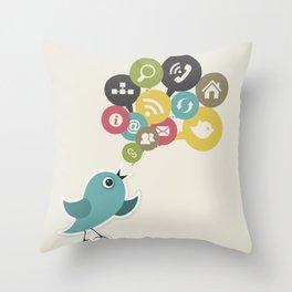 Social bird Throw Pillow
