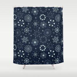 Indigo Winter Floral Boho Flower field Shower Curtain