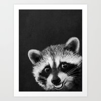 raccoon Art Prints featuring Raccoon  by Laura Graves