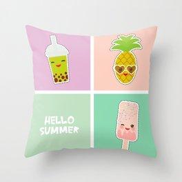 Hello Summer bright tropical card, pineapple, smoothie cup, ice cream, bubble tea. Kawaii cute face. Throw Pillow