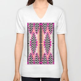 Tribal Beat Geo Magenta Unisex V-Neck