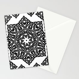 Celtic Knot Ornament Pattern Black and White Stationery Cards