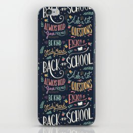Back to school colorful typography drawing on blackboard with motivational messages, hand lettering iPhone Skin