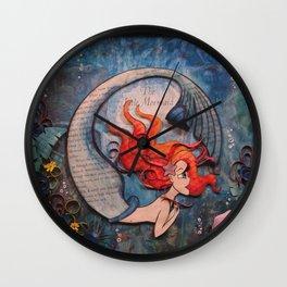 Mermaid Book Art Illustration Wall Clock