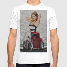 Pin Up Girl & Hot Rod Mens Fitted Tee White MEDIUM