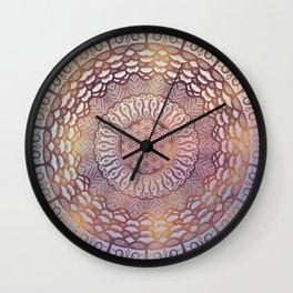 Flower of life in mandala - gentle glitter on pastel Wall Clock