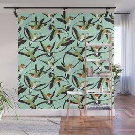Hummingbirds with Ribbons Wall Mural