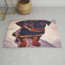 Rottweiler Puppy Born To Be Wild Rug