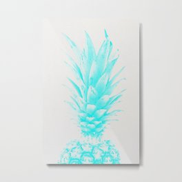 Blue Pineapple Xerox Watercolor  Metal Print