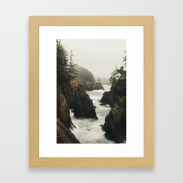 Fog Blankets the Oregon Coast at Natural Bridges Framed Art Print