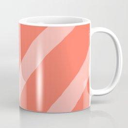 Soft Organic Diagonal Living Coral and Light Salmon Stripes Coffee Mug