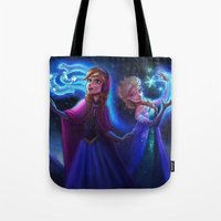 frozen Tote Bags featuring frozen by KATIE PAYNE