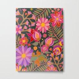 Flowers on Green Metal Print