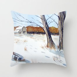A Different Path - Winter Wonderland Throw Pillow