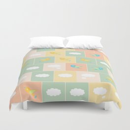 Clouds and birds Duvet Cover