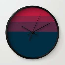 Red navy blue geometrical ombre stripes Wall Clock