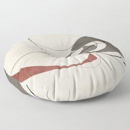 Minimalist Abstract Art Shapes - Scribbles Earth Red 2 Floor Pillow