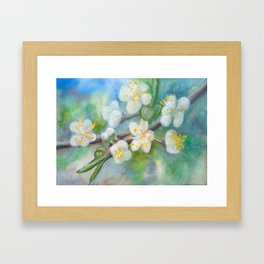 Wall Decor , Floral Watercolor, Blooming tree, abstract, spring, blossom Framed Art Print