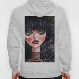 Batgirl Victorian Goth Girl with Grey Bat Big Green Eyes Hoody