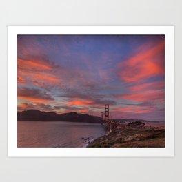 Golden Gate Bridge at Sunset Art Print
