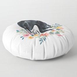Black sighthound Floor Pillow