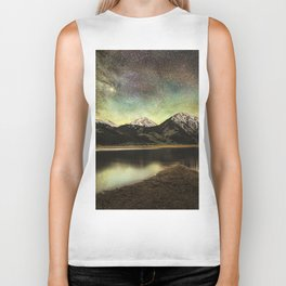 Milky way over twin lakes Biker Tank