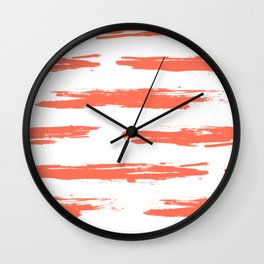 Brushed Stripe Deep Coral on White Wall Clock