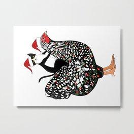 Meowy Chickenmas Metal Print