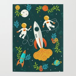 Race to the Moon with Flower Power Poster