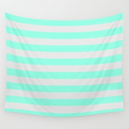 Mint Green & Gray Stripes Wall Tapestry