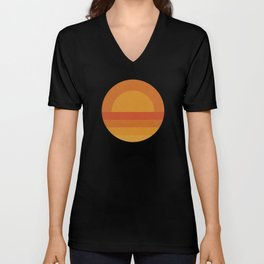 Retro Geometric Sunset Unisex V-Neck