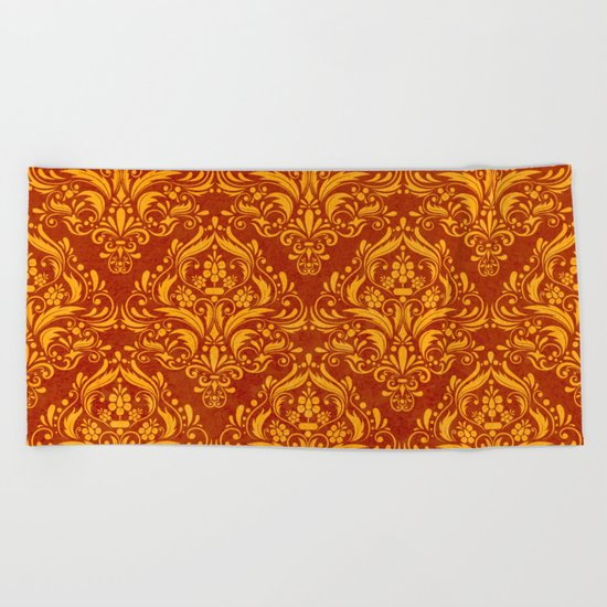 Halloween damask colors #2 Beach Towel