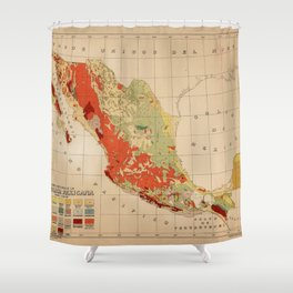 Vintage Geological Map of Mexico (1921) Shower Curtain