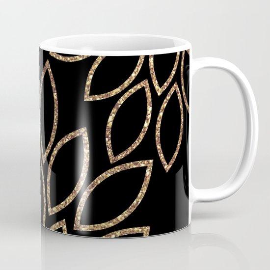 gold glitter leaves on black Mug