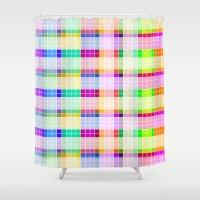 bathroom Shower Curtains featuring Bathroom Tile Rainbow by Jessica's Illustrationart